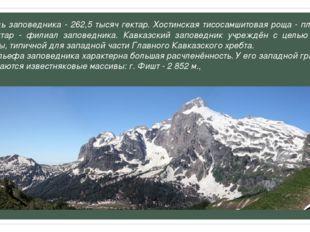Площадь заповедника - 262,5 тысяч гектар. Хостинская тисосамшитовая роща - пл