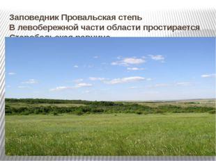 Заповедник Провальская степь В левобережной части области простирается Староб