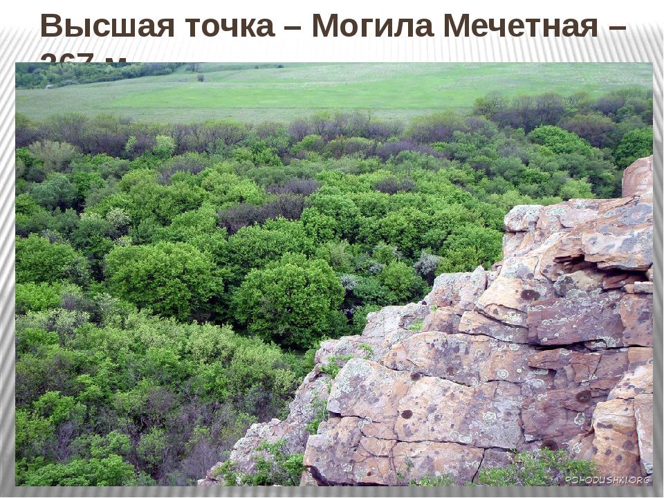 Высшая точка – Могила Мечетная – 367 м.