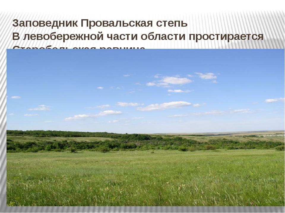 Заповедник Провальская степь В левобережной части области простирается Староб...