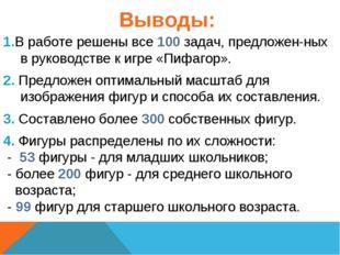 Выводы: 1.В работе решены все 100 задач, предложен-ных в руководстве к игре «