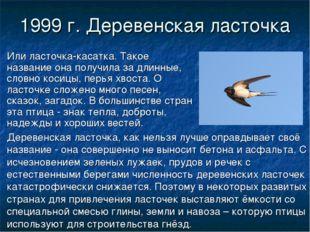1999 г. Деревенская ласточка Или ласточка-касатка. Такое название она получил