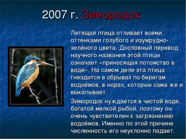 2007 г. Зимородок Летящая птица отливает всеми оттенками голубого и изумрудно...