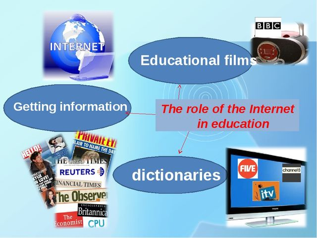 The role of the Internet in education Getting information Educational films d...
