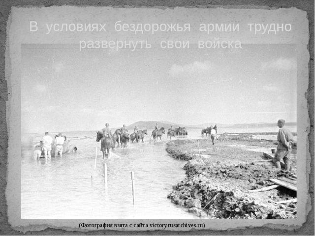 В условиях бездорожья армии трудно развернуть свои войска (Фотография взята с...