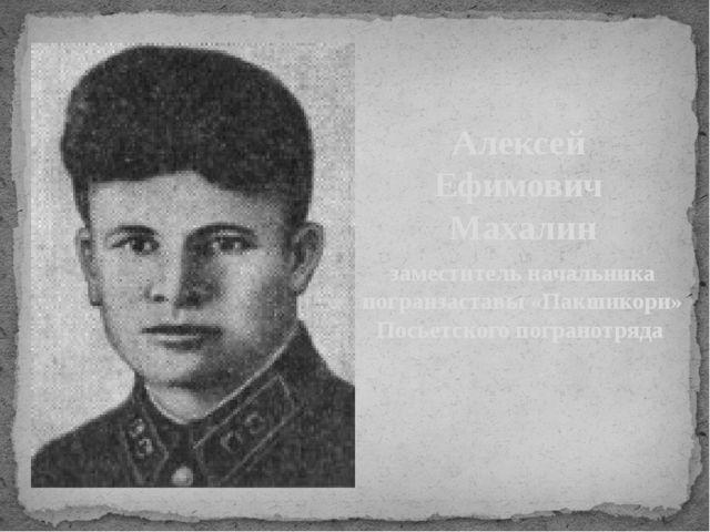 Алексей Ефимович Махалин заместитель начальника погранзаставы «Пакшикори» Пос...