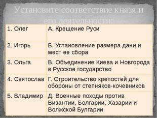 Установите соответствие князя и его деятельности: 1. Олег А. Крещение Руси 2.