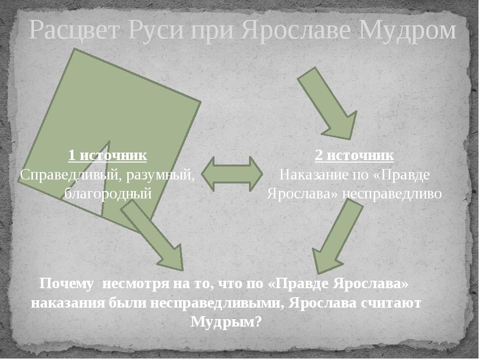 Расцвет Руси при Ярославе Мудром 1 источник Справедливый, разумный, благородн...