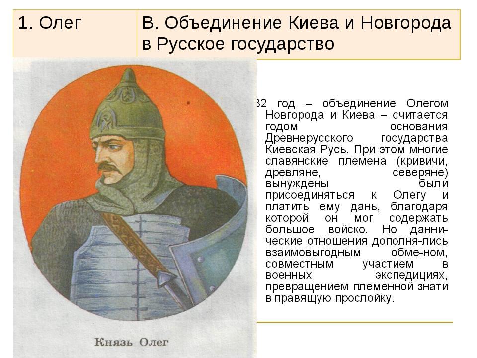 1. Олег В. Объединение Киева и Новгорода в Русское государство