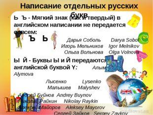 Написание отдельных русских букв ЬЪ - Мягкий знак (как и твердый) в английс