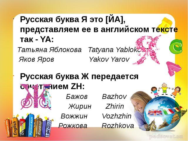 Русская буква Я это [ЙА], представляем ее в английском тексте так - YA: Татья...