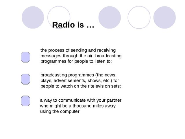 Radio is … the process of sending and receiving messages through the air; bro...