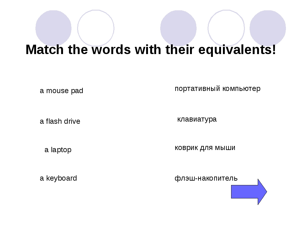 Match the words with their equivalents! a mouse pad a flash drive a laptop a...