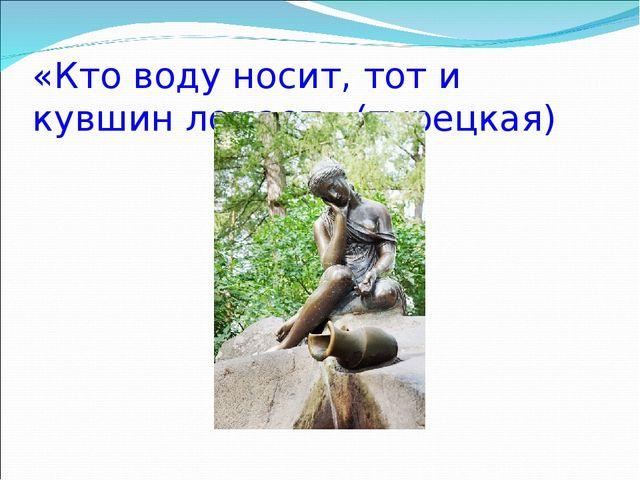 «Кто воду носит, тот и кувшин ломает» (турецкая)