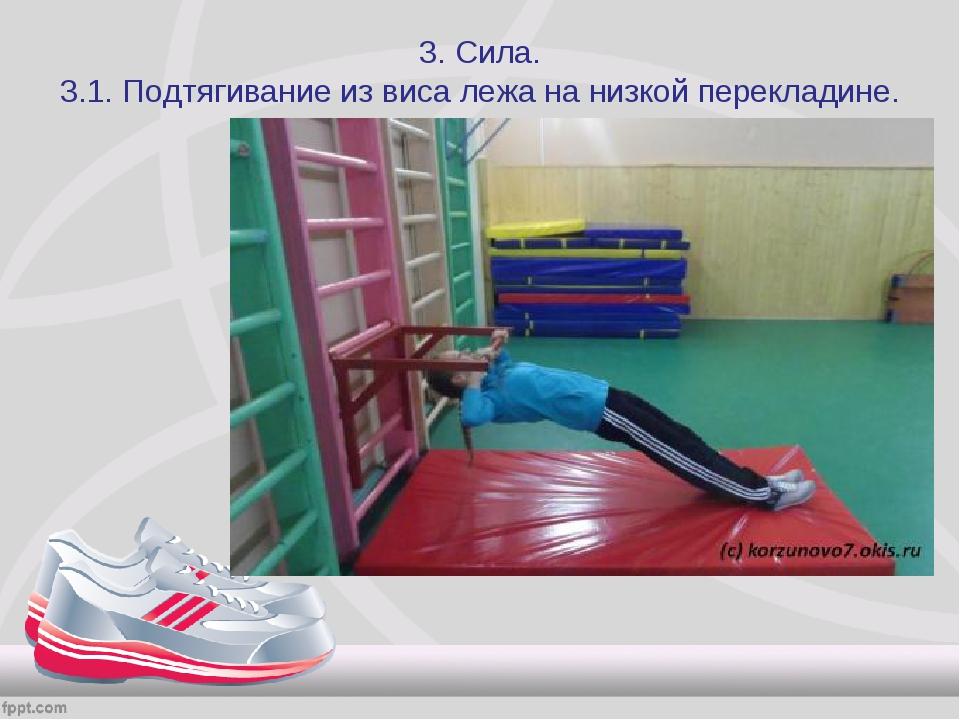 3. Сила. 3.1. Подтягивание из виса лежа на низкой перекладине.