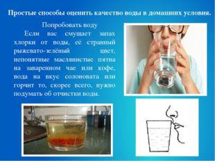 Простые способы оценить качество воды в домашних условия. Попробовать воду Ес