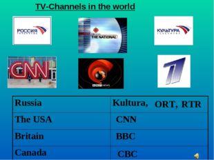 CNN BBC CBC ORT, RTR TV-Channels in the world RussiaKultura, The USA Britai