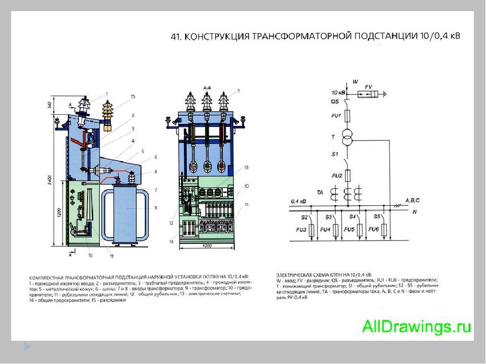 подстанции трансформаторной схема принципиальная комплектной