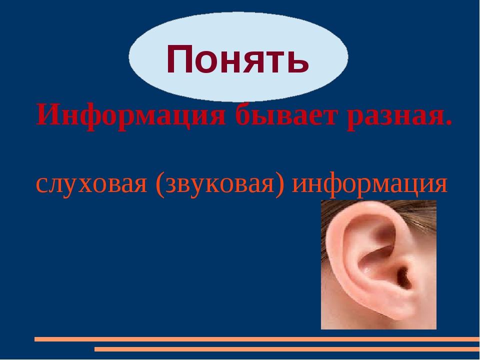 Информация бывает разная. Понять слуховая (звуковая) информация