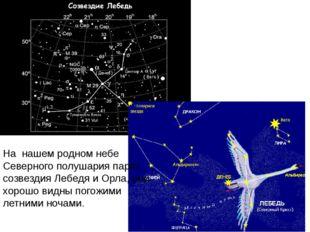 На нашем родном небе Северного полушария парят созвездия Лебедя и Орла, они х