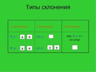 Типы склонения а я а я о е 1 склонение 2 склонение 3 склонение Ж. р. - М. р.
