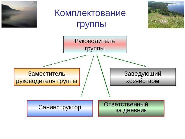 Комплектование группы Руководитель группы Заведующий хозяйством Санинструктор...
