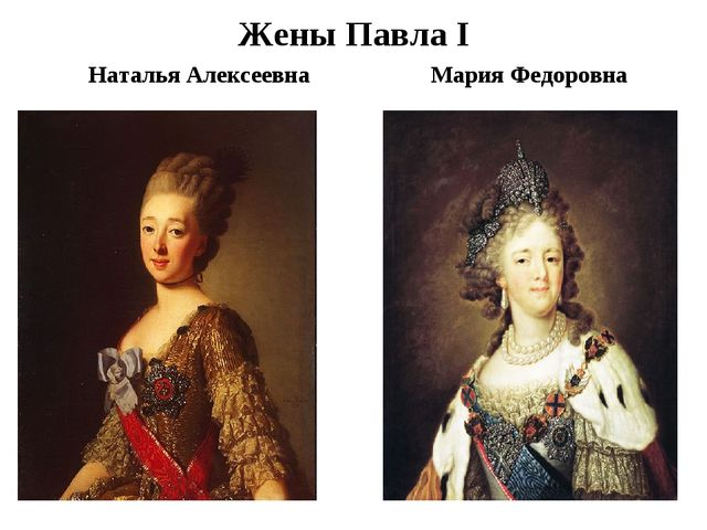 Жены Павла I Наталья Алексеевна Мария Федоровна