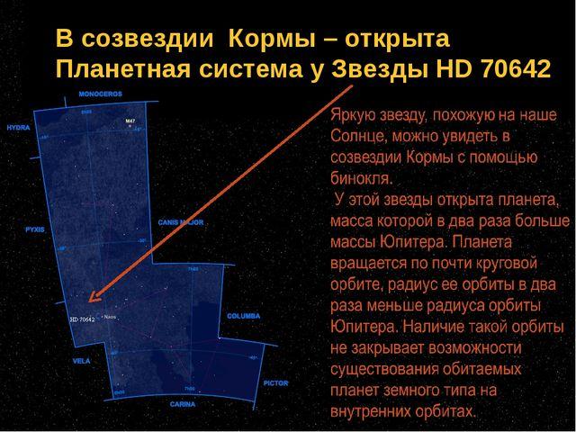 В созвездии Кормы – открыта Планетная система у Звезды HD 70642