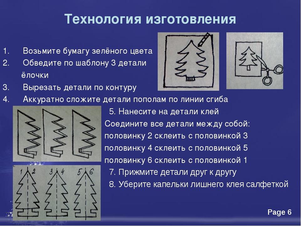 Технология изготовления Возьмите бумагу зелёного цвета Обведите по шаблону 3...