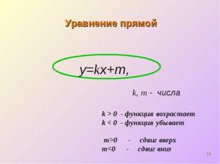 * Уравнение прямой у=kх+m, k, m- числа k > 0 - функция возрастает k < 0 - фу