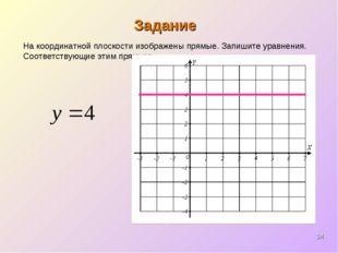 * Задание На координатной плоскости изображены прямые. Запишите уравнения. Со