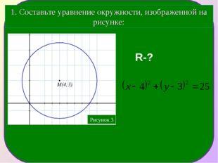 1. Составьте уравнение окружности, изображенной на рисунке: R-?