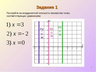 * Задание 1 x = 3 Постройте на координатной плоскости множества точек, соотве