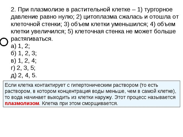 2. При плазмолизе в растительной клетке – 1) тургорное давление равно нулю; 2...