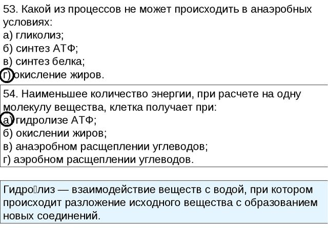 53. Какой из процессов не может происходить в анаэробных условиях: а) гликоли...
