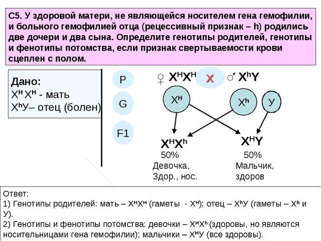 С5. У здоровой матери, не являющейся носителем гена гемофилии, и больного гем...