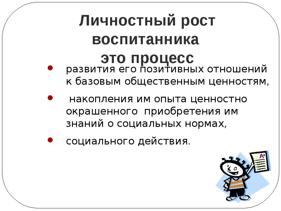 Личностный рост воспитанника это процесс развития его позитивных отношений к...