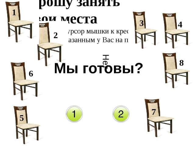 Прошу занять свои места (подведите курсор мышки к креслу с номером указанным...