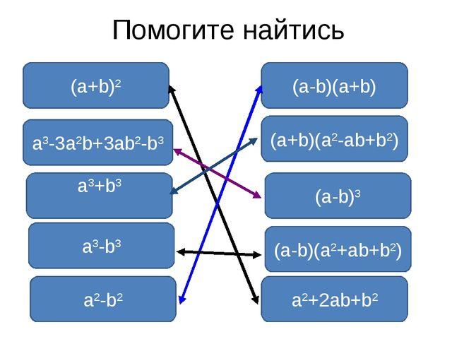 Помогите найтись (a+b)2 a3+b3 (a-b)3 a3-b3 a2-b2 a2+2ab+b2 (a+b)(a2-ab+b2) a3...
