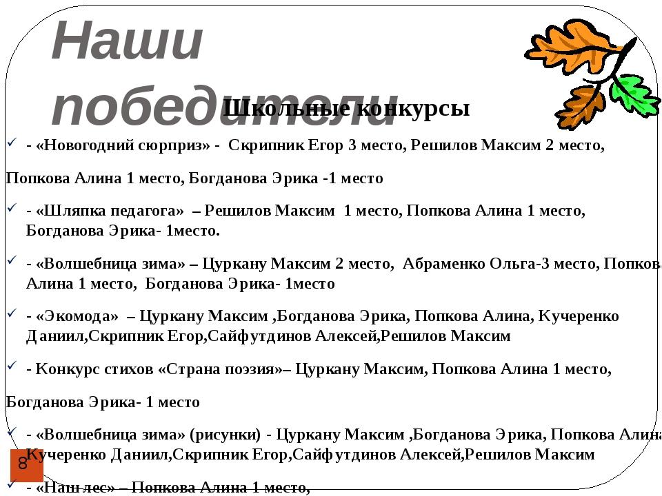 Наши победители Школьные конкурсы - «Новогодний сюрприз» - Скрипник Егор 3 ме...