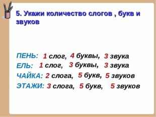 ПЕНЬ: ЕЛЬ: ЧАЙКА: ЭТАЖИ: 5. Укажи количество слогов , букв и звуков 1 слог,