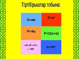Дөңгелектің ауданы S=ΠR2 Тік төртбұрыштың периметрі Тік төртбұрыш- Тың аудан