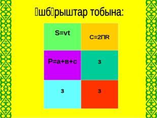Жолдың формуласы S=vt Үшбұрыштың периметрі P=а+в+с Шеңбердің ұзындығы С=2ПR Ү