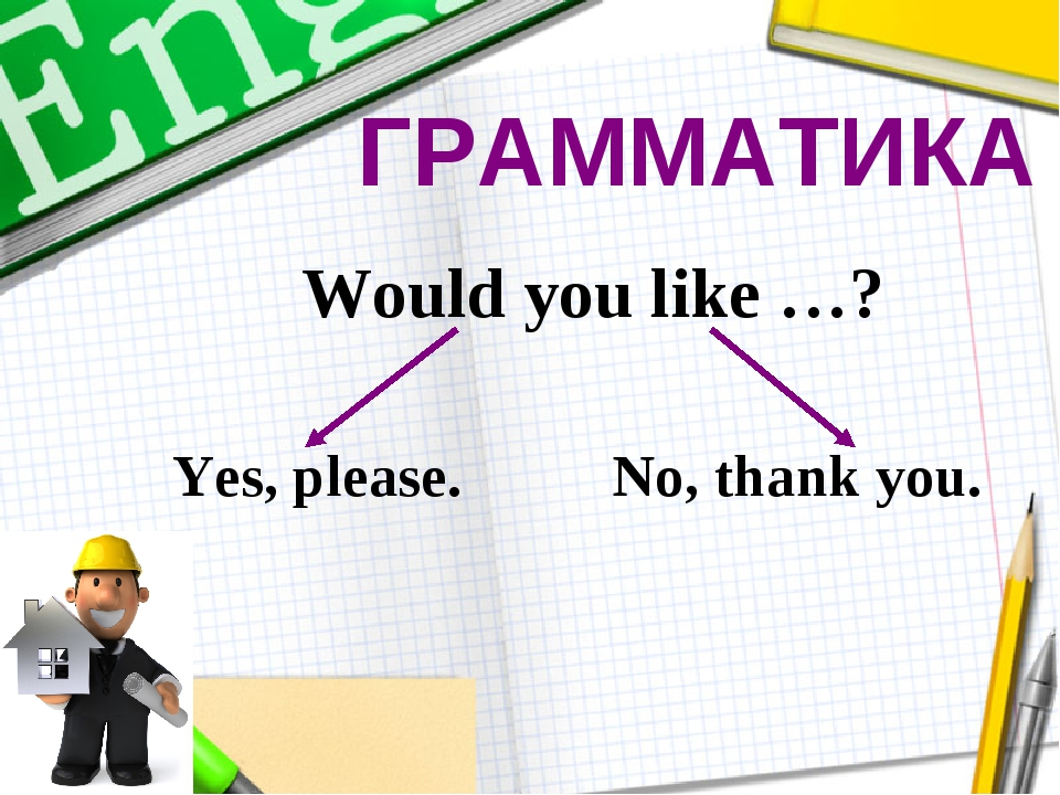 ГРАММАТИКА Would you like …? Yes, please. No, thank you.
