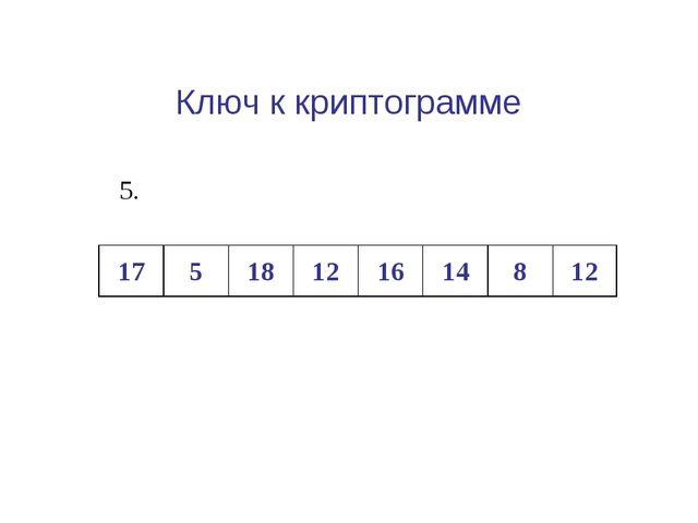 Ключ к криптограмме Клетки, образовавшиеся при делении 17518121614812