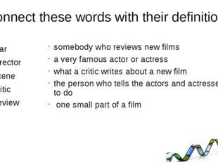 Connect these words with their definitions Star Director Scene Critic Review s