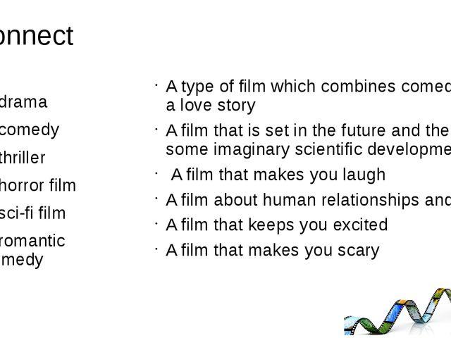 Connect A drama A comedy A thriller A horror film A sci-fi film A romantic co...