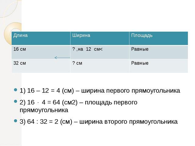 1) 16 – 12 = 4 (см) – ширина первого прямоугольника 2) 16  4 = 64 (см2) – п...