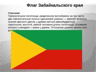 Флаг Забайкальского края Описание Прямоугольное полотнище, разделенное вилоо