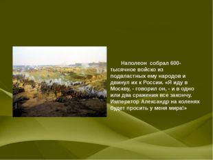 Наполеон собрал 600-тысячное войско из подвластных ему народов и двинул их к